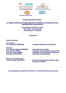 Relazioni disfunzionali nelle separazioni conflittuali e tutela dei minori: aspetti giuridici e psicoforensi @ Sala Telesio dell'Italiana Hotels | Cosenza | Calabria | Italia