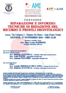 Separazione e divorzio: tecniche di redazione del ricorso e profili deontologici @ Palazzo De Pietro - Aula Primo Tondo | Lecce | Puglia | Italia