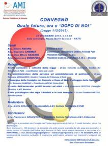 """Quale futuro, ora e """"DOPO DI NOI"""" (Legge 112/2016) @ Sala comunale, Comune di Patti   Patti   Sicilia   Italia"""