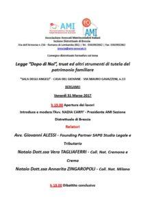 """Legge """"Dopo di Noi"""", trust ed altri strumenti di tutela del patrimonio familiare @ """"SALA DEGLI ANGELI"""" - CASA DEL GIOVANE -   Bergamo   Lombardia   Italia"""