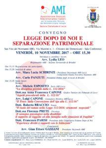 LEGGE DOPO DI NOI E SEPARAZIONE PATRIMONIALE @ Sala Conferenze - Chiostro dei Domenicani | San Vito dei Normanni | Puglia | Italia