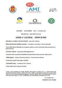 LEGGE n° 112/2016: DOPO DI NOI @ Palermo Sala delle Carrozze | Palermo | Sicilia | Italia