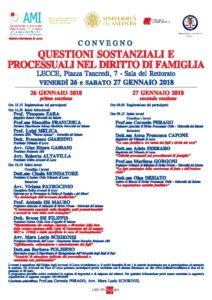 QUESTIONI SOSTANZIALI E PROCESSUALI NEL DIRITTO DI FAMIGLIA @ Lecce - Università Sala del Rettorato | Lecce | Puglia | Italia