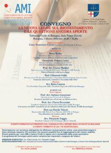 LA NUOVA LEGGE SUL BIOTESTAMENTO E LE QUESTIONI ANCORA APERTE @ Tribunale Civile di Bologna, Aula Primo Zecchi | Bologna | Emilia-Romagna | Italia