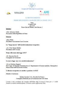 IL BIOTESTAMENTO PRIME RIFLESSIONI A MARGINE DELLA LEGGE 219/17 @ Siena - Sala dei Mutilati | Siena | Toscana | Italia