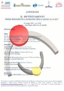 IL BIOTESTAMENTO PRIME RIFLESSIONI A MARGINE DELLA LEGGE 14.12.2017 @ Messina – Aula Magna della Corte di Appello