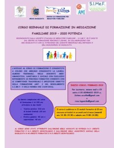CORSO BIENNALE DI FORMAZIONE IN MEDIAZIONE FAMILIARE @ Potenza