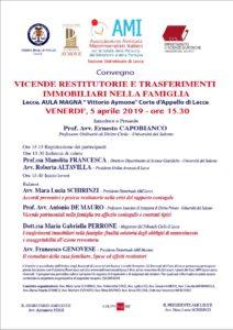 VICENDE RESTITUTORIE E TRASFERIMENTI IMMOBILIARI NELLA FAMIGLIA @ Aula Magna Corte d'Appello di Lecce