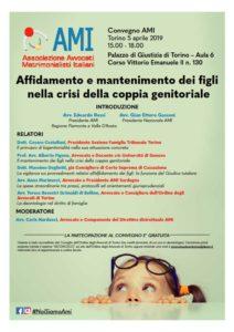 Affidamento e mantenimento dei figli  nella crisi della coppia genitoriale @ Palazzo di Giustizia di Torino – Aula 6 Corso Vittorio Emanuele II n. 130