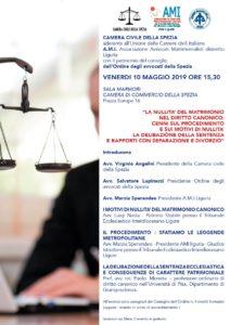 """""""LA NULLITA' DEL MATRIMONIO NEL DIRITTO CANONICO: CENNI SUL PROCEDIMENTO E SUI MOTIVI DI NULLITA' LA DELIBAZIONE DELLA SENTENZA E RAPPORTI CON SEPARAZIONE E DIVORZIO"""" @ SALA MARMORI CAMERA DI COMMERCIO DELLA SPEZIA Piazza Europa 16"""