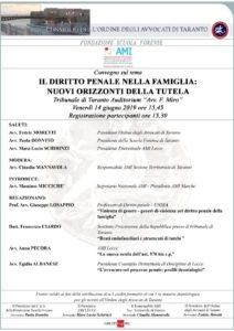 IL DIRITTO PENALE NELLA FAMIGLIA: NUOVI ORIZZONTI DELLA TUTELA @ Aula F. Miro Tribunale di Taranto