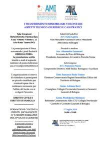 TRASFERIMENTI IMMOBILIARI VOLONTARI: ASPETTI TECNICO @ Sala Congressi Hotel Helvetia Thermal Spa P.zza Vittorio Veneto n. 11 Alto Reno Terme (BO)