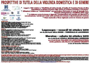 Prospettive di tutela della violenza domestica e di genere @ 25.10.19 Lagonegro, Tribunale - 26.10.19 Maratea, Palazzo de Lieto