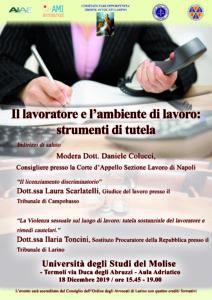 Il lavoratore e l'ambiente di lavoro: strumenti di tutela @ Termoli, Università del Molise, Aula Adriatico