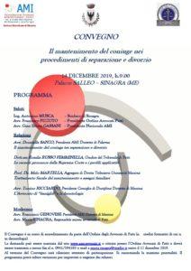 Il mantenimento del coniuge nei procedimenti di separazione e divorzio @ Sinagra, Palazzo Salleo
