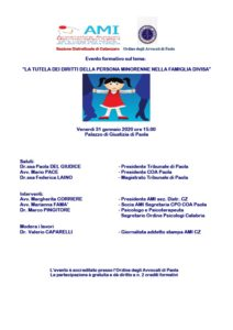 """"""" La tutela dei diritti della persona minorenne nella famiglia divisa"""" @ Paola, Palazzo di Giustizia"""