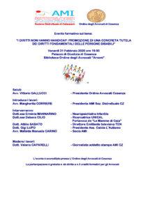 """I DIRITTI NON HANNO HANDICAP: PROMOZIONE DI UNA CONCRETA TUTELA DEI DIRITTI FONDAMENTALI DELLE PERSONE DISABILI"""" @ Palazzo di Giustizia di Cosenza Biblioteca Ordine degli Avvocati """"Arnoni"""""""