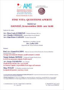 FINE VITA: QUESTIONI APERTE @ Webinair Lecce