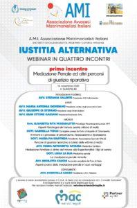 Webinair in quattro incontri: 1° Mediazione Penale ed altri percorsi di giustizia riparativa @ Webinari