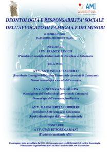 DEONTOLOGIA E RESPONSABILITA' SOCIALE  DELL'AVVOCATO DI FAMIGLIA E DEI MINORI @ webinair Catanzaro