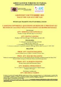 L'ASSEGNO DIVORZILE: QUESTIONI GIURIDICHE E PROCESSUALI METODI DI CALCOLO NELL'EVOLUZIONE GIURISPRUDENZIALE @ webinar Parma