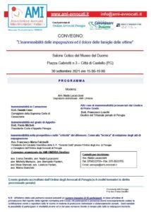 """""""L'inammissibilità delle impugnazioni ed il dolore delle famiglie delle vittime"""" @ Salone Gotico del Museo del Duomo Citta di Castello (PG)"""