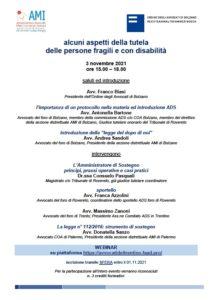Alcuni aspetti della tutela delle persone fragili e con disabilità @ webinar Bolzano